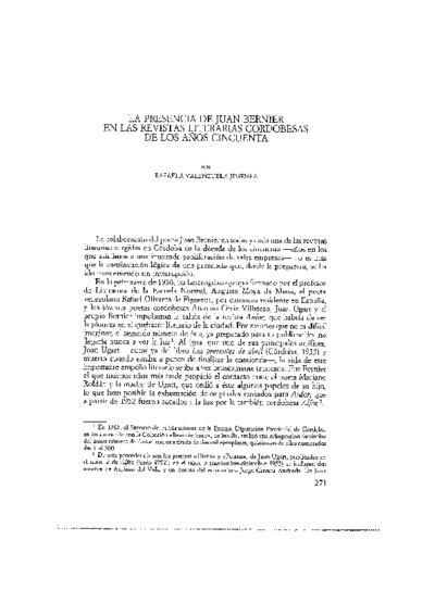 La presencia de Juan Bernier en las revistas literarias cordobesas de los años cincuenta