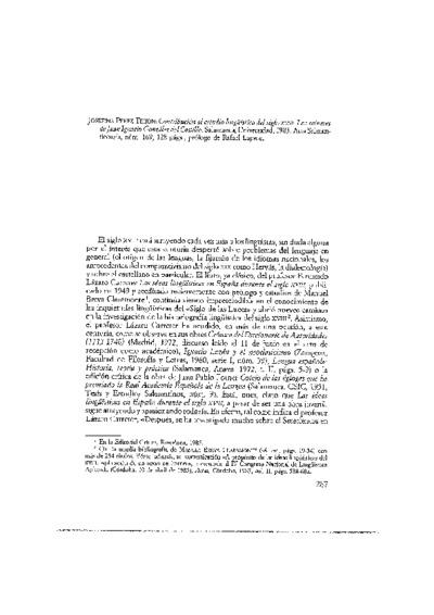 PÉREZ TEIJÓN, Josefina (Salamanca, 1985). Contribución al estudio lingüístico del siglo XVIII. Los sainetes de Juan Ignacio González del Castillo