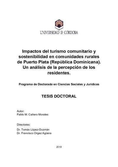 Impactos del turismo comunitario y sostenibilidad en comunidades rurales de Puerto Plata (República Dominicana). Un análisis de la percepción de los residentes
