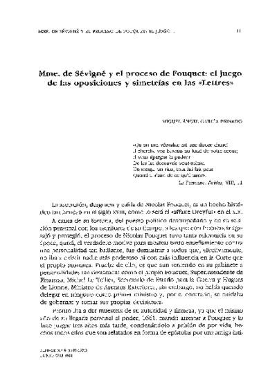 Mme. de Sévigné y el proceso de Fouquet: el juego de las oposiciones y simetrías en las Lettres