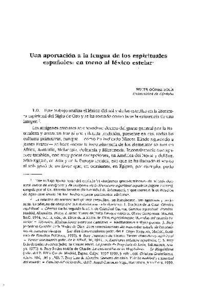 Una aportación a la lengua de los espirituales españoles: en torno al léxico estelar