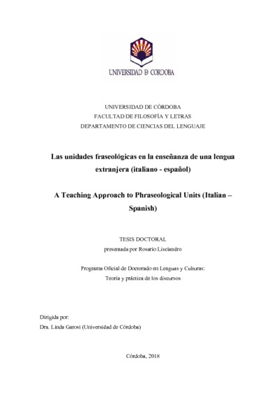 Las unidades fraseológicas en la enseñanza de una lengua extranjera (italiano - español)