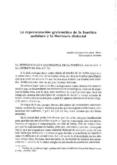 La representación grafemática de la fonética andaluza y la literatura dialectal