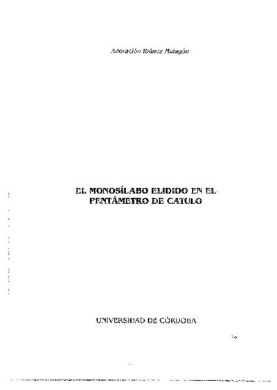 El monosílabo de elidido en el pentámetro de Catulo