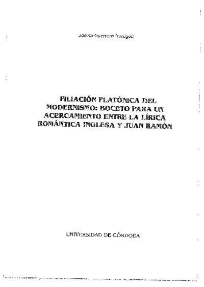 Filiación platónica del modernismo: boceto para un acercamiento entre la lírica romántica inglesa y Juan Ramón.