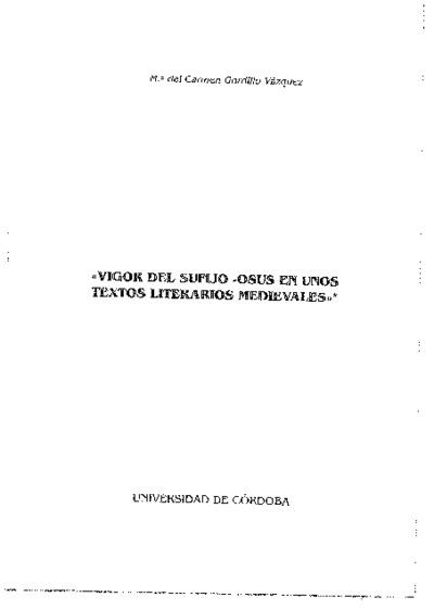 Vigor del sufijo -osus en unos textos literarios medievales