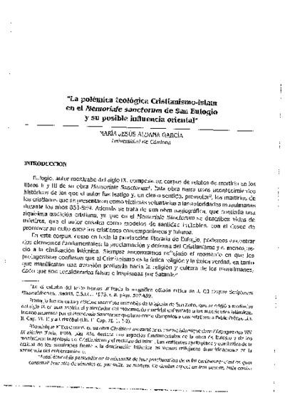 La polémica teológica Cristianismo-Islam en el Memoriale sanctorum de San Eulogio y su posible influencia oriental