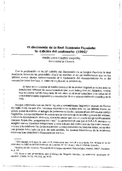 El diccionario de la Real Academia Española: la Edición del centenario (1992)