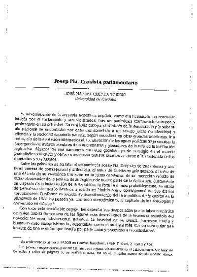 Josep Pla, Cronista parlamentario