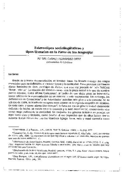 Estereotipos sociolingüísticos y tipos literarios en la Farsa de los lenguajes