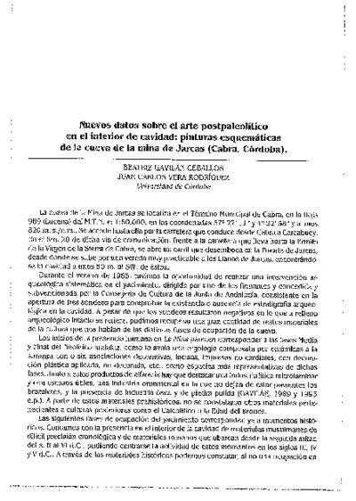 Nuevos datos sobre el arte postpaleolítico en el interior de cavidad: pinturas esquemáticas de la cueva de la mina de Jarcas (Cabra, Córdoba).