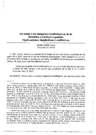 En torno a las imágenes ornitológicas de la literatura espiritual española. Implicaciones lingüísticas y estilísticas
