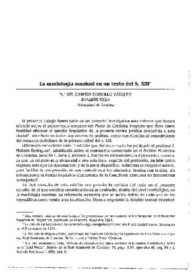 La morfología nominal en un texto del S.XIII