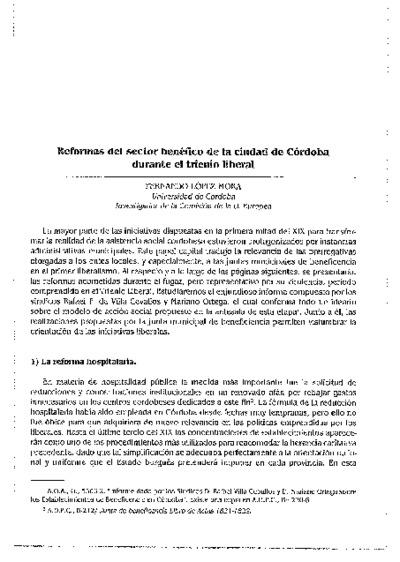 Reformas del sector benéfico de la ciudad de Córdoba durante el trienio liberal
