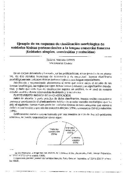Ejemplo de un esquema de clasificación morfológica de unidades léxicas pertenecientes a la lengua comercial francesa (Unidades simples, construidas y reducidas)
