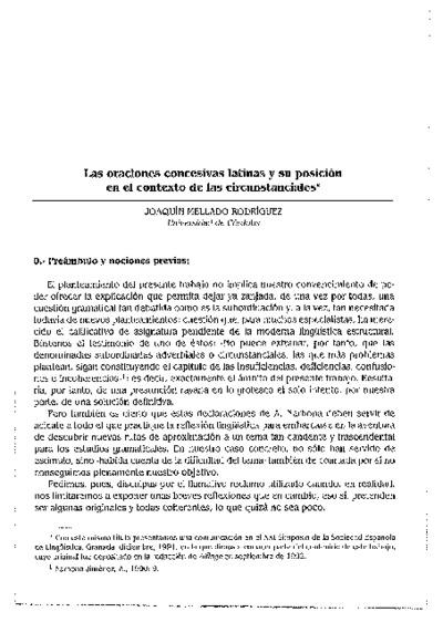 Las oraciones concesivas latinas y su posición en el contexto de las circunstanciales