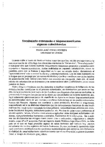 Vocabulario extremeño e hispanoamericano: algunas coincidencias