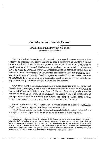 Corduba en las obras de Cicerón