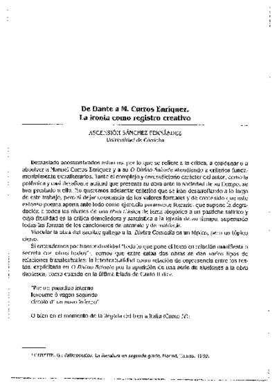 De Dante a M. Curros Enríquez. La ironía como registro creativo