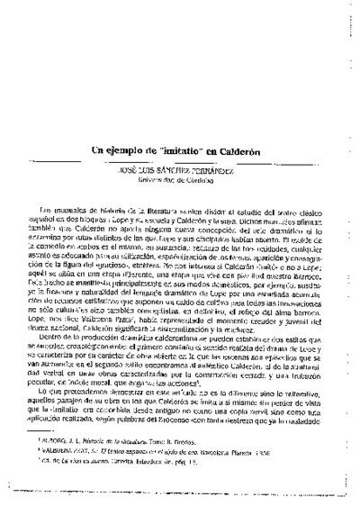 Un ejemplo de imitatio en Calderón