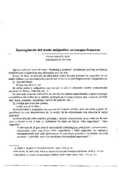 Cronogésis del modo subjuntivo en lengua francesa