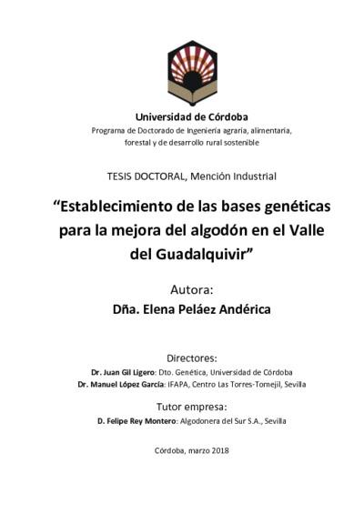 Establecimiento de las bases genéticas para la mejora del algodón en el Valle del Guadalquivir