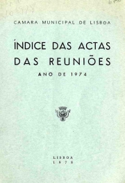 Índice das actas das reuniões da Câmara Municipal de Lisboa ano de ...