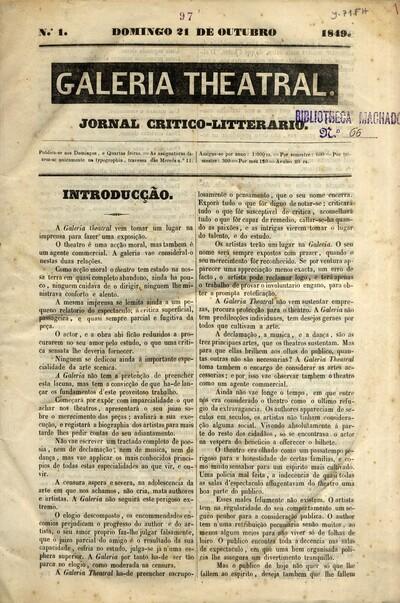 Galeria theatral: jornal critico-litterario