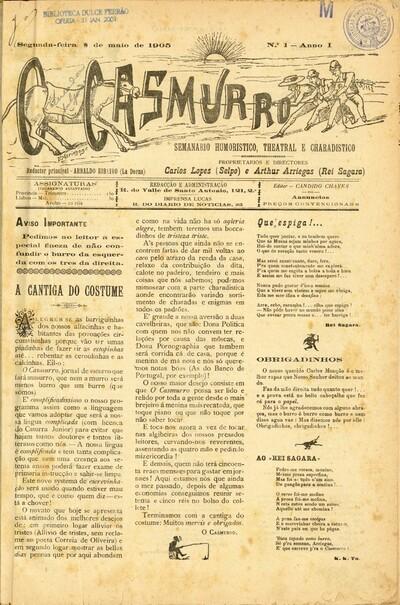 O casmurro: semanario humoristico, theatral