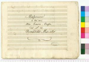 O d'immensa pieta' fonte inesausto (Miserere / a tre voci / Alto, Tenore, Basso, / del N. U. / Benedetto Marcello)