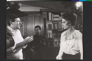 Anouk Aimée e Paolo Spinola sul set de La fuga (Paolo Spinola, 1964)