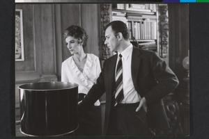 Anouk Aimée e Paolo Ferrari, in visita, sul set de La fuga (Paolo Spinola, 1964)