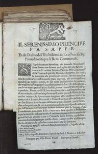 Il Serenissimo Prencipe fa saper, et de ordine dell'illustrissimi, & eccellentiss. sig. Proueditori sopra li beni communali