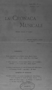 La cronaca musicale : piccola rivista di musica (1908:1)
