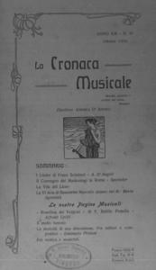 La cronaca musicale : piccola rivista di musica (1909:10)