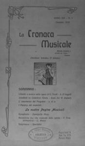 La cronaca musicale : piccola rivista di musica (1910:1)
