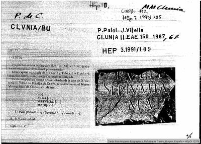 Inscripción hallada en Clunia Sulpicia