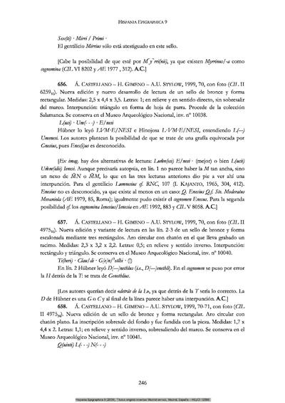Inscripción hallada en Hispania Citerior