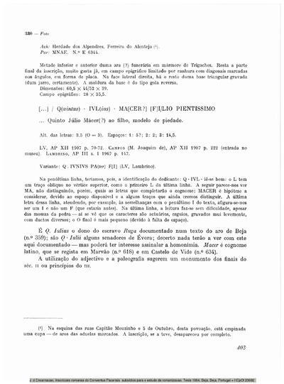 Inscripción hallada en Pax Iulia