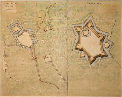 Authentiek gekleurde kopergravure van de vestingwerken van Bredevoort. Met twee van elkaar gescheiden plattegronden op één blad.