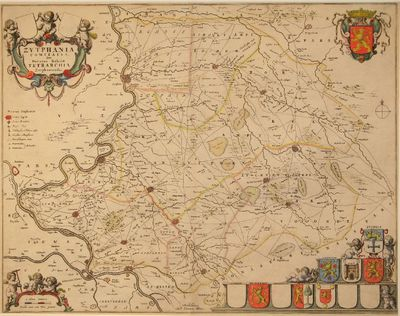 Ingekleurde kopergravure van een kwartierkaart van Gelderland uit de Atlas Maior van Joan Blaeu van circa 1672.