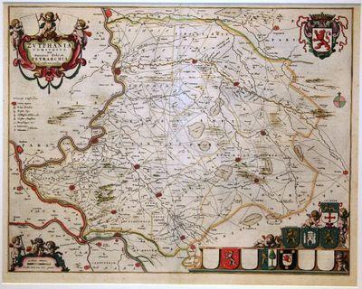 Ingekleurde kopergravure van een kwartierkaart van Gelderland uit de Atlas Maior van Joan Blaeu van 1662.