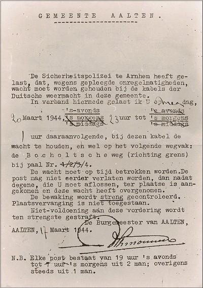 De Aaltense bevolking wordt gestraft als een aantal telefoonkabels van de Duitse weermacht is doorgesneden aan de Lichtenvoordsestraat in maart 1944. De manlijke inwoners moeten bij toerbeurt dag en nacht de kabels bewaken om nieuwe onregelmatigheden te voorkomen. Uit het boek Aalten in Oorlogstijd van J.G. ter Horst