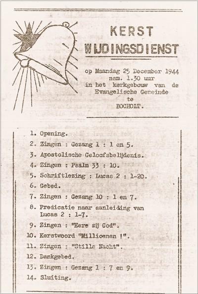 Het programma van een Kerstsamenkomst op 25 december 1944 voor de Nederlandse tewerkgestelden in Bocholt, waarvoor de organisator vanuit Aalten op clandestiene wijze de grens wist over te komen. Uit het boek Aalten in Oorlogstijd van J.G. ter Horst