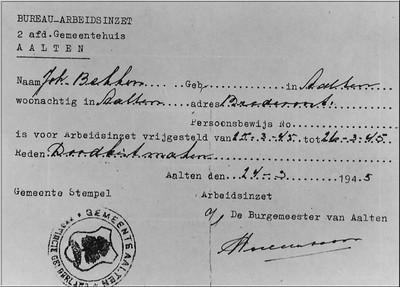 Vrijstelling van arbeidsinzet in 1945