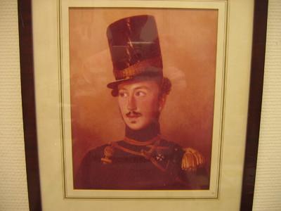 portet (beweerdelijk) van Goltz. Wilhelm Johann Graaf van der. Borststuk, gezicht naar rechts gewend. . Gladde houten staaflijst.