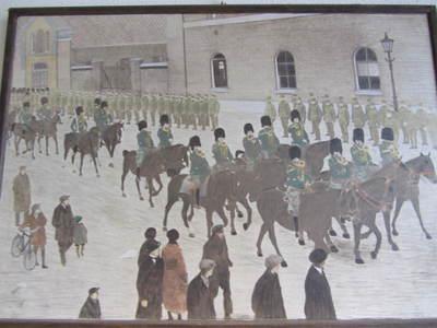 parade trompetterkorps te paard voor Willemskazerne te Arnhem parade muziekkorps te paard voor Willemskazerne te Arnhem ter gelegenheid van korpsverjaardag 1923