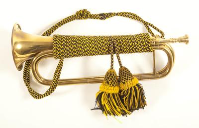 signaal trompet met geel blauw trompetkoord en twee geel blauwe kwasten met genette peren.