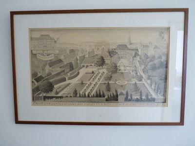 Palais zum Raben van voren gezien. Linksboven in een kader de naam van het voorgestelde en de architecten. Onder staat wat er voorgesteld is in het Duits.