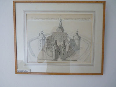 Kasteel Batenburg van voren gezien. Boven het kasteel staat in twee delen de tekst Reconstructiestudie Kasteel Batenburg.